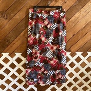 Vintage western camping maxi wrap skirt